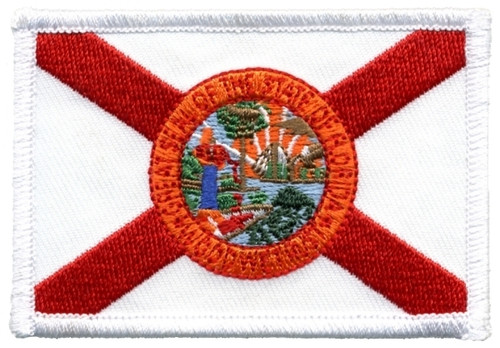 """Florida State Flag Patch, Wavy, 3-1/4x2-3/8"""""""