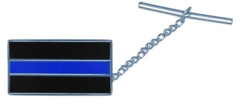 "Police Blue Line Tie Tac w/Jewelers Clutch, Chain & Bar, Enameled & Plated, 3/4"" W"