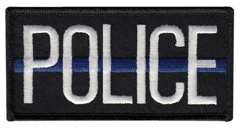 """POLICE Chest Patch with Blue Stripe, Hook, White/Blue/Black, 4x2"""""""