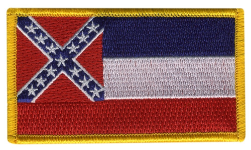 """Mississippi State Flag Patch, 3-3/8x2"""""""
