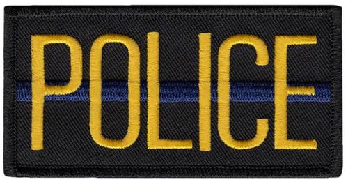 "POLICE Chest Patch, Hook, Medium Gold/Blue/Black, 4x2"""
