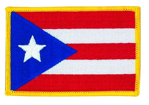 """Puerto Rico Flag Patch, 3-3/8x2-1/4"""""""