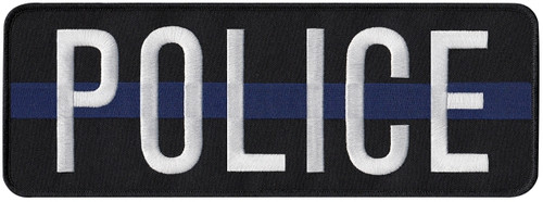 """POLICE Back Patch, Hook, White/Blue/Black, 11x4"""""""