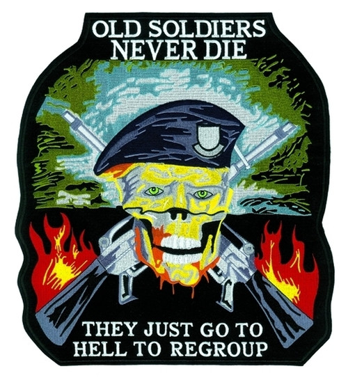 """OLD SOLDIERS NEVER DIE Collector Patch, 5x4-5/8"""""""