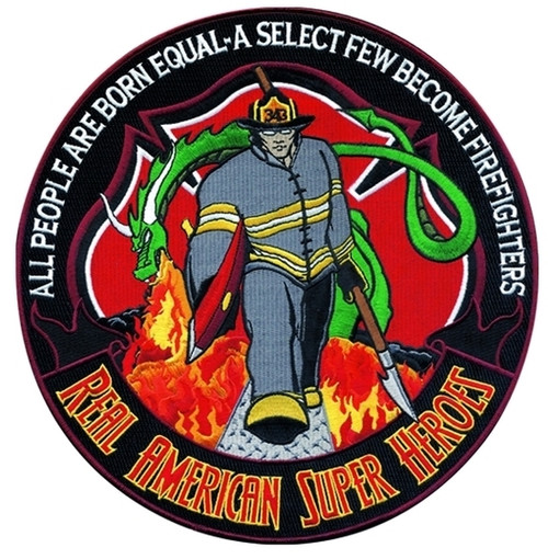 """Firefighter, REAL AMERICAN SUPERHERO Collector Patch, 5"""" Circle"""
