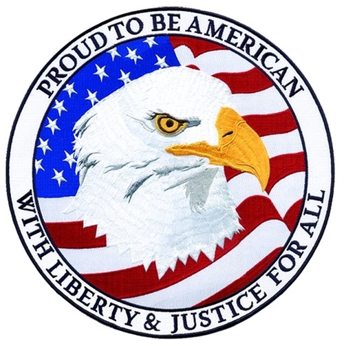 """PROUD TO BE AMERICAN WITH LIBERTY Tribute Patch, 12"""" Circle"""