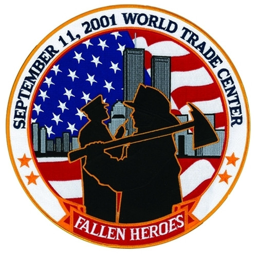 """9/11 FALLEN HEROES Tribute Patch, 12"""" Circle"""