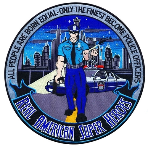 """Police Officer, REAL AMERICAN SUPER HEROES Collector Patch, 12"""" Circle"""