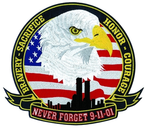 """NEVER FORGET 9-11-01 Tribute Patch, 12"""" Wide"""