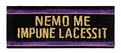"""NEMO ME IMPUNE LACESSIT Badge Mourning Band, Black/Purple, 15/16"""" H"""