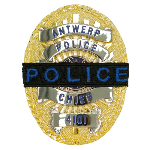 """Police Mourning Band, Royal Blue """"Police"""" Lettering on Black Band 1/2"""" W"""