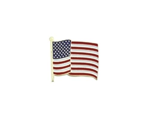 "U.S. Flag Pin, Wavy, Enameled & Plated, 1 Post & Clutch Back, 7/8x3/4"""