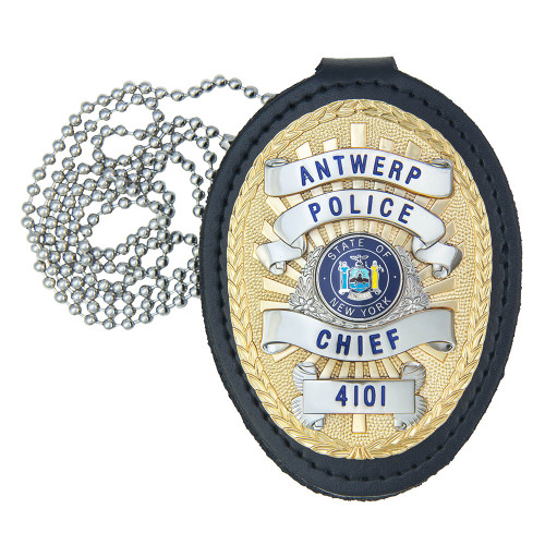 Universal Deluxe Badge Holder Shield, Chain & Clip