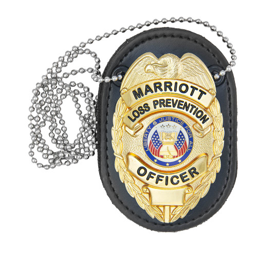 Universal Deluxe Badge Holder, Oval, Clip & Chain