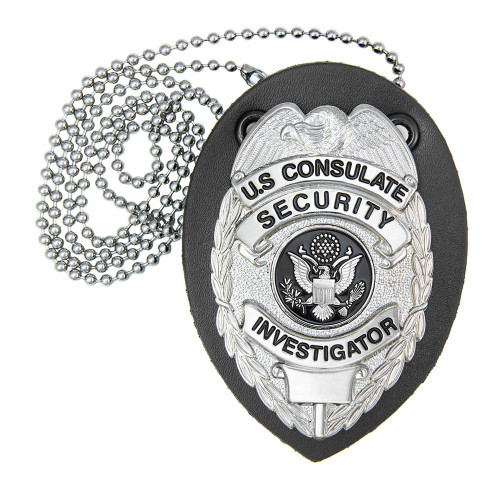 Universal Deluxe Badge Holder, Teardrop, Clip & Chain