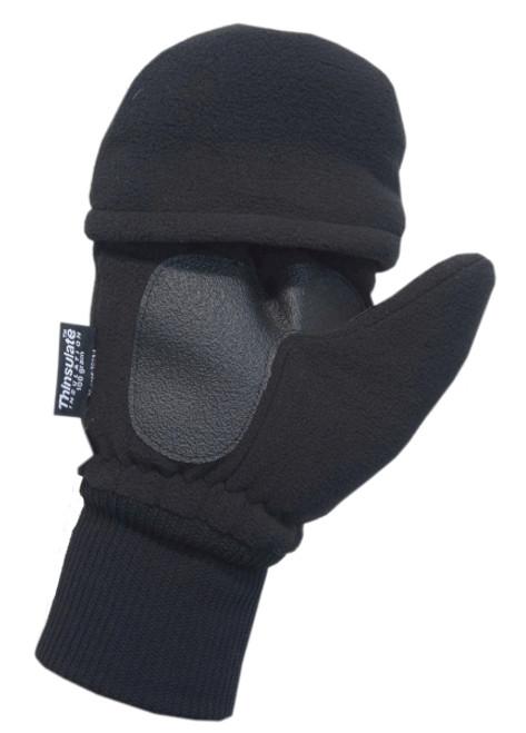 3/4 Finger Fleece Knit Glove/Mitten, Black