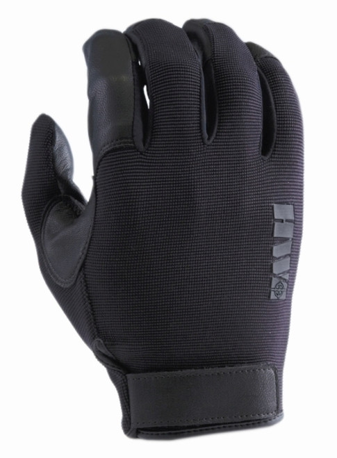 Glove, Spandex Knit & Goatskin Leather, Black