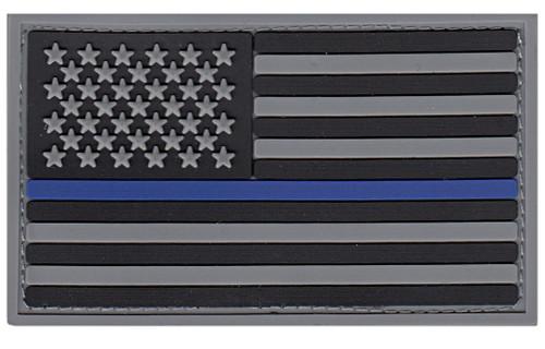 "U.S. Flag Patch, Blue Stripe, PVC, Hook, Grey/Blue/Black, 3-3/8x2"""