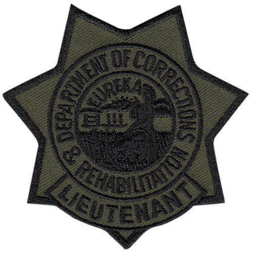 """CDCR LT Star Badge Patch, Subdued, 3x3"""""""