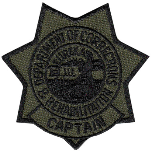 """CDCR Captain Star Badge Patch, Subdued, 3x3"""""""