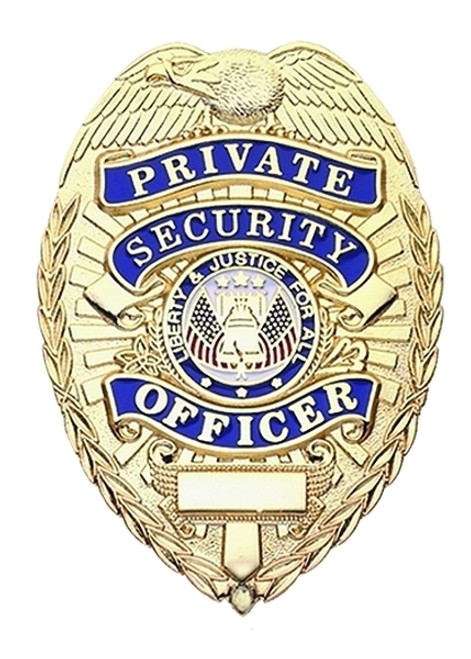 PRIVATE SECURITY OFFICER Badge, Enameled & Plated, Durable 5-Pc Pin & Catch