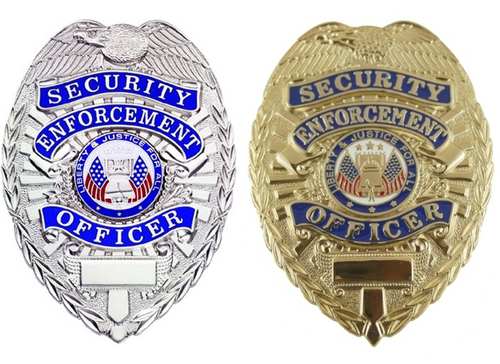 SECURITY ENFORCEMENT OFFICER Badge, Durable 5-Pc Pin & Catch