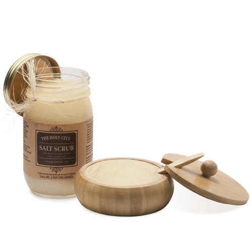 Holy City Skin Revitalizing Dead Sea Salt Hand and Body Scrub Gift Set Comes with Bamboo Bowl
