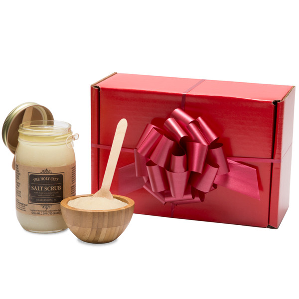 GIVE THE GIFT OF PAMPERING- Perfect gift for Holidays, Birthdays, Anniversary's, and even Baby Shower's. Cleanse and beautify your skin with our All Natural Honey Almond Sea Salt Scrub that comes in a Mason Jar with Bamboo Wooden Bowl & Spoon wrapped in a Beautiful Box. Our scrub will make your skin look as good as it feels by cleansing and enriching your skin to remove dead skin cells and bring on a healthy glow.
