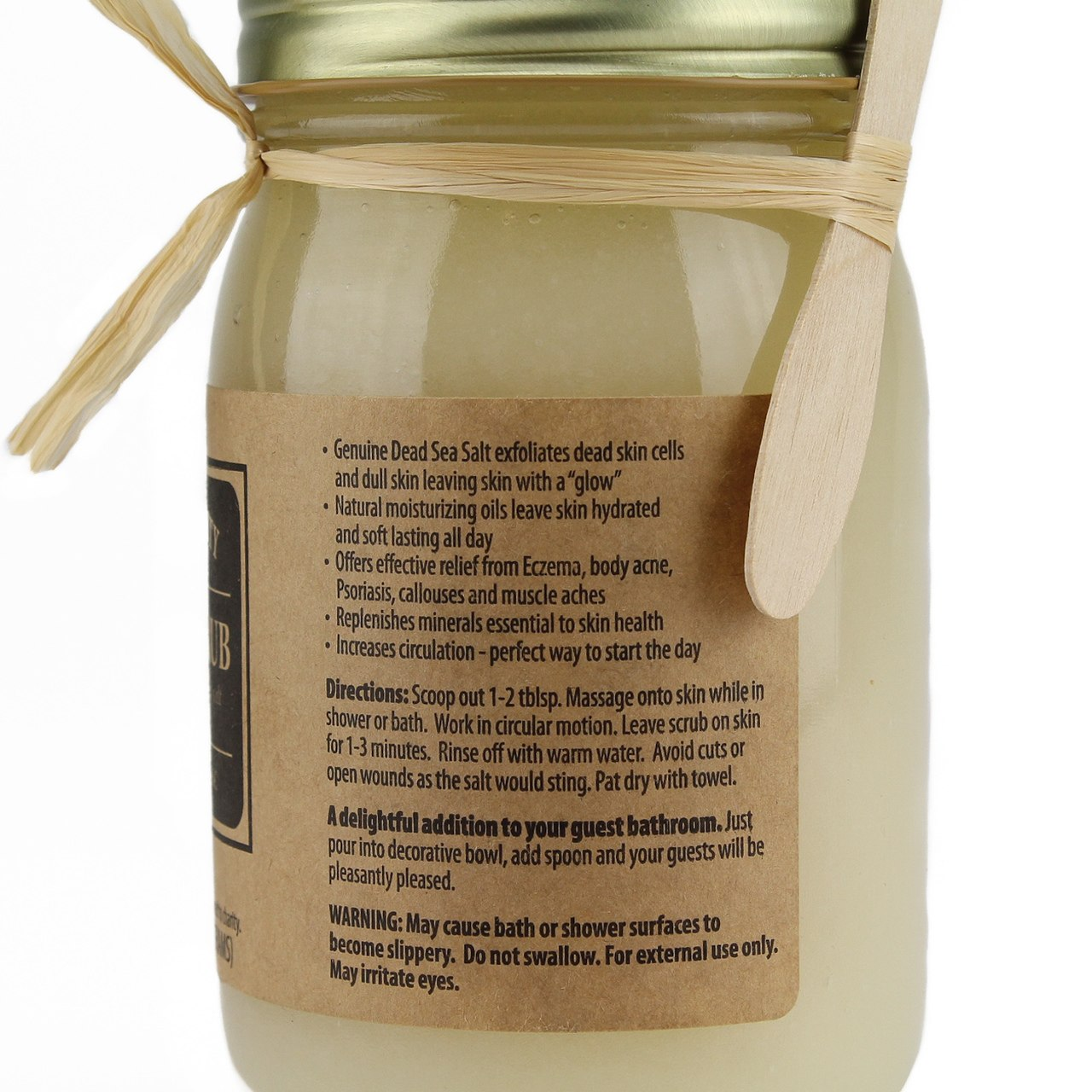 Dead Sea Salt Scrub Gift Set incl. Bamboo Bowl with Lid & Spoon