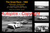 593 - The Great Race 1962 - A collage of the first three place getters from  Phillip Island 1962 with winners time and laps completed.