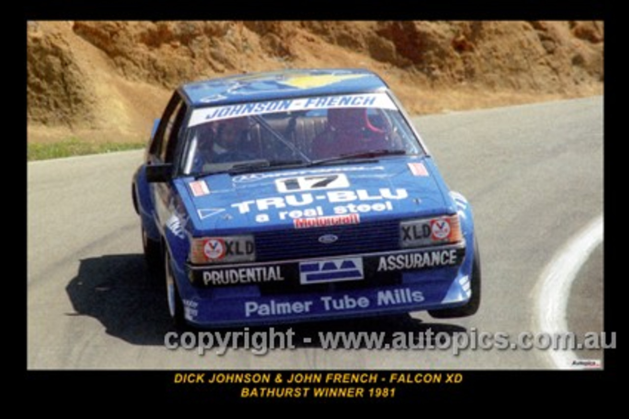 Dick Johnson / John French  -  Bathurst 1981 - 1st Outright - Ford Falcon XD - Printed with a black border and a caption describing the photo.