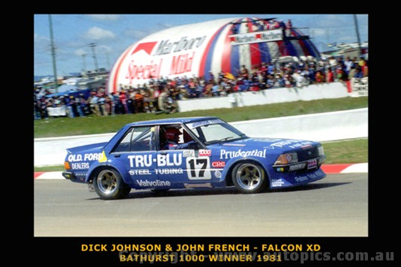 Dick Johnson & John French  -  Bathurst 1981- Ford Falcon XD - Printed with a black border and a caption describing the photo.