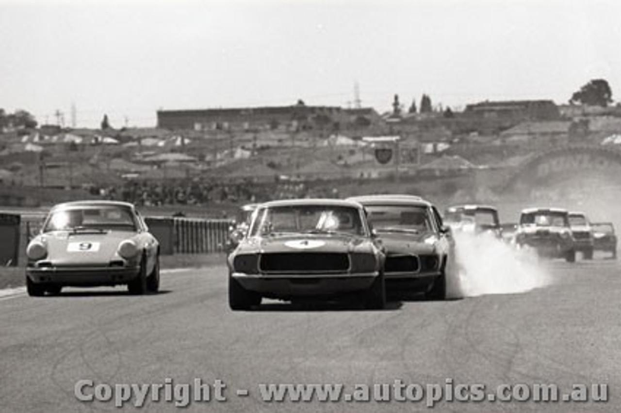 69130 - John Harvey / Allan Moffat Ford Mustang / Allan Hamilton Porsche -  Sandown  1969 - Photographer Peter D Abbs