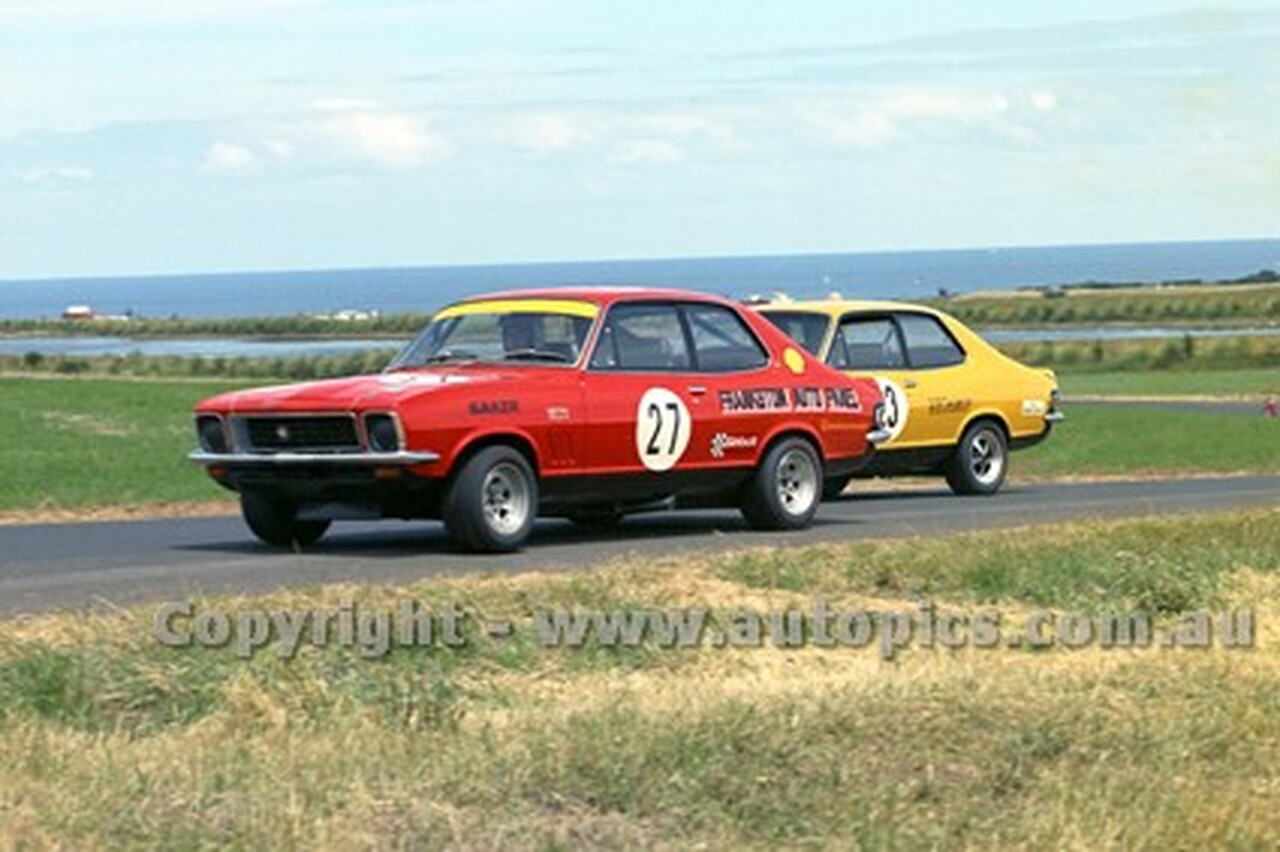 73189 - Stuart Saker & Gil Davis, XU1 Torana - Australian Manufacturers' Championship Heat 5  - Phillip Island 25th November 1973 - Photographer Peter D'Abbs