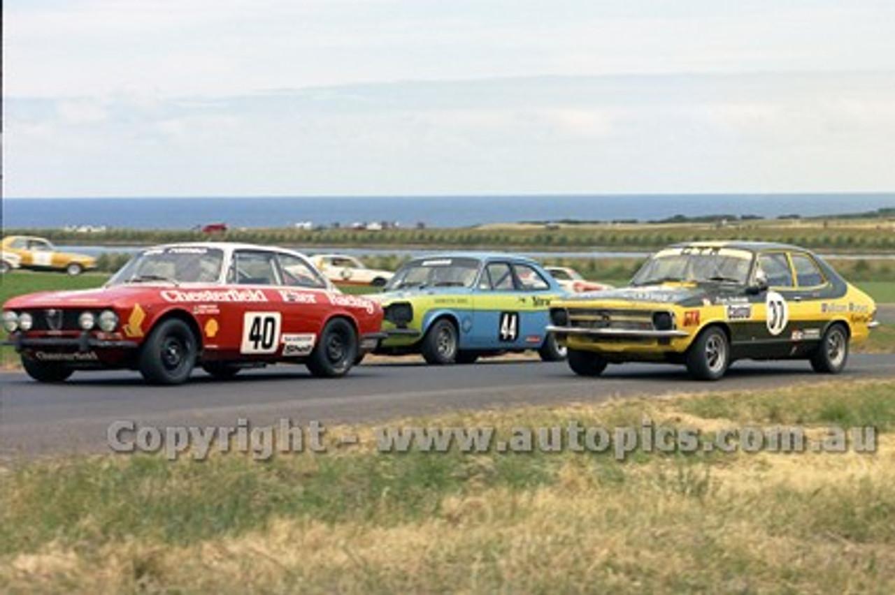 73196 - Chris Cole, Alfa Romeo / Roger Bonhomme Torana GTR / Graeme Ritter, Ford Escort T/C - Australian Manufacturers' Championship Heat 5  - Phillip Island 25th November 1973 - Photographer Peter D'Abbs