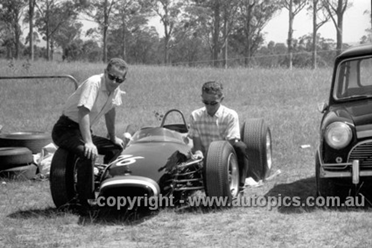 65557 - John Harvey  Brabham & Austin Cooper S , Oran Park  21st November 1965 - Photographer Lance J Ruting