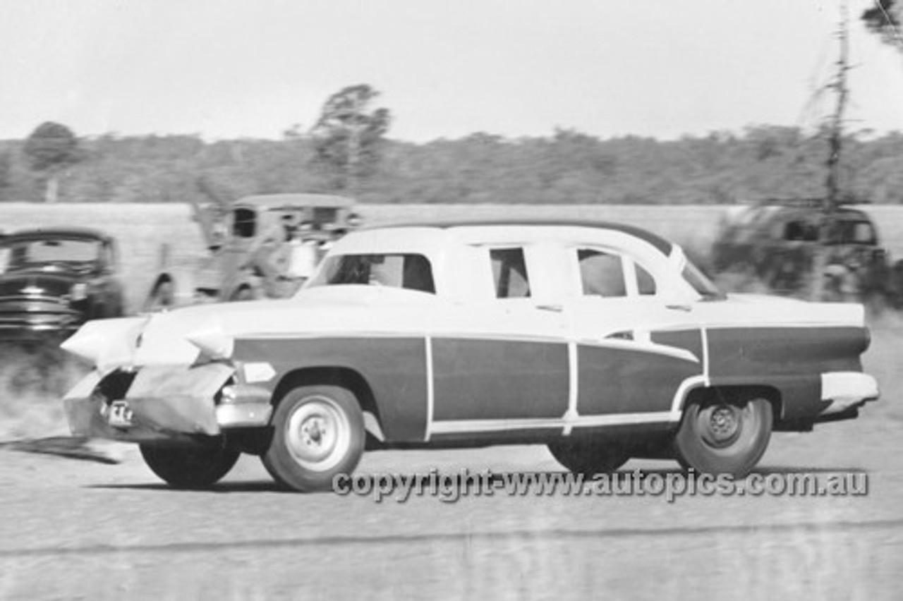57001 - Len Lukey, Ford Customline - Coonabaraban Speed Trials 1957