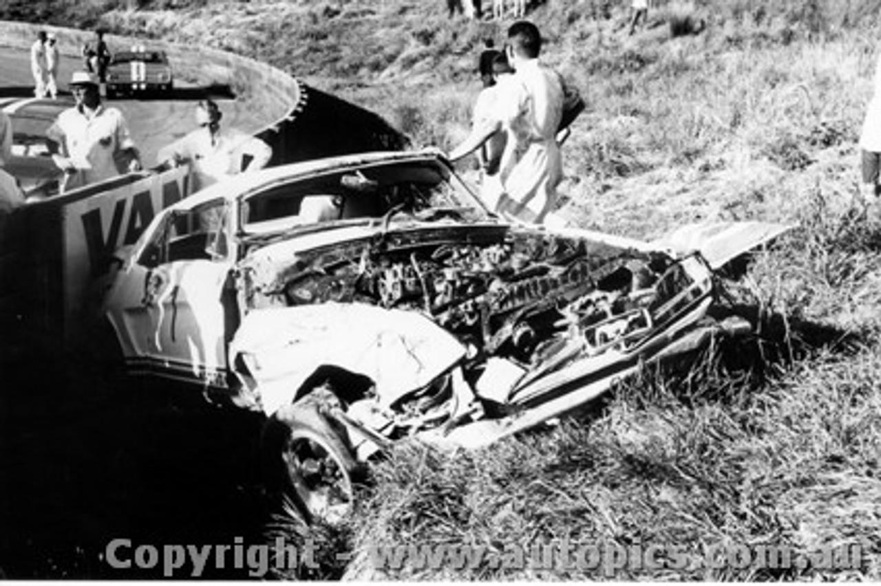 65035 - Bob Jane s Mustang after his spectacular crash at Catalina Park Katoomba 1965