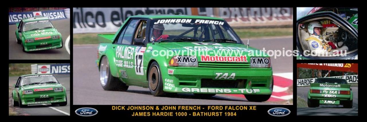 176 - Dick Johnson & John French, Greens Tuf Falcon XE - Bathurst 1984 -  A Panoramic Photo 30x10 inches.