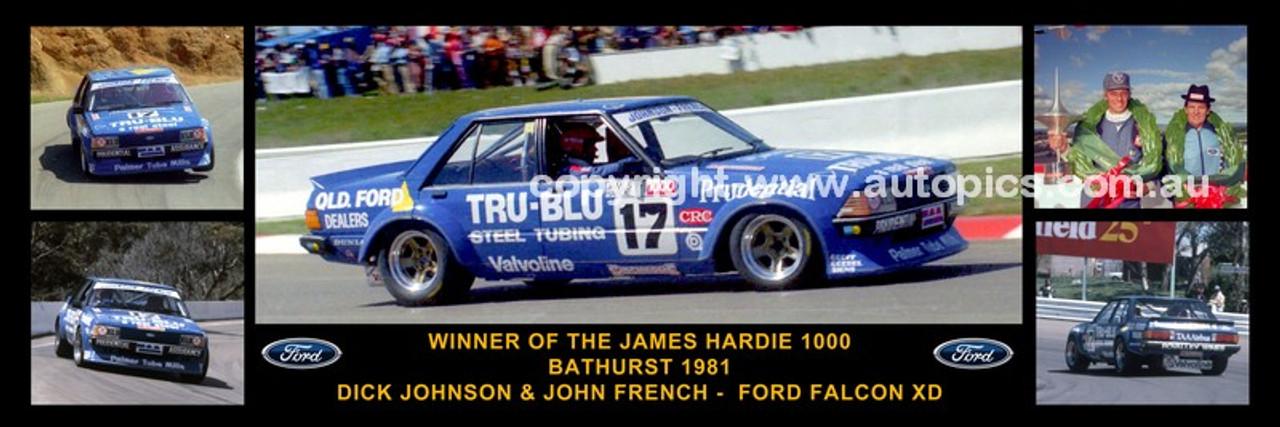 174 - Dick Johnson & John French, Falcon XD - Bathurst Winner 1981 -  A Panoramic Photo 30x10 inches.