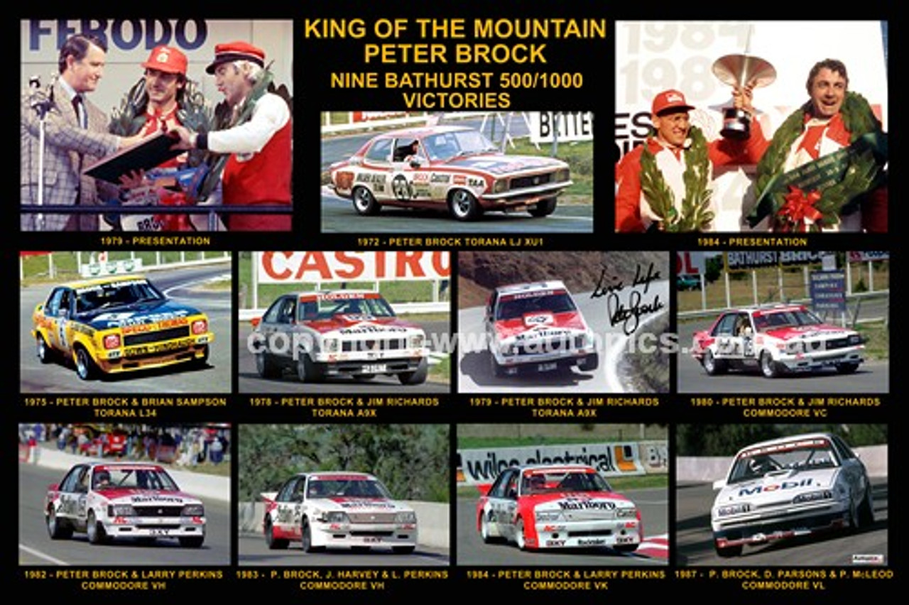 168 - Peter Brock - King of the Mountain, A collage of his nine Bathurst Wins
