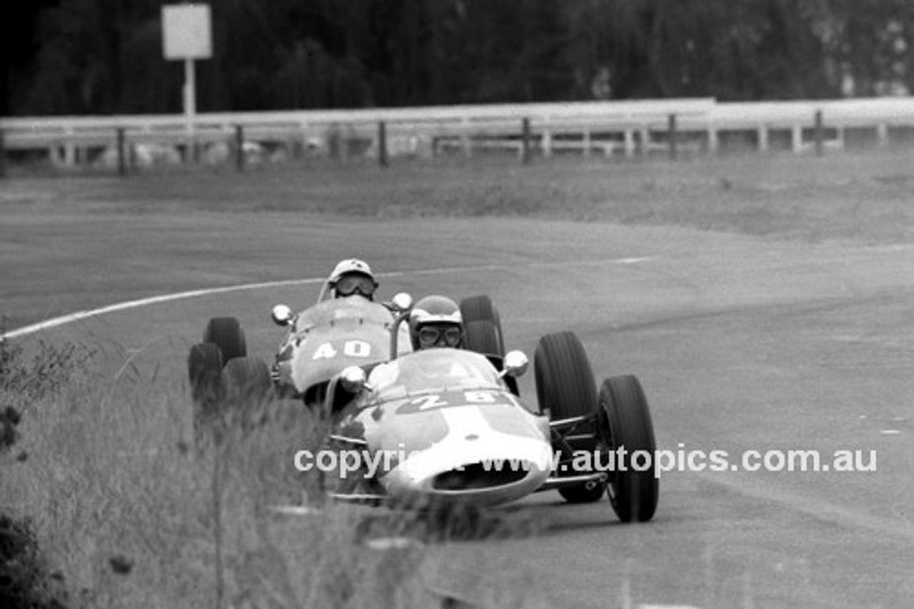 66485 - Graham Moore Lotus 20B & Barry Lake, Elfin Ford - Warwick Farm 13th February 1966 - Photographer Lance J Ruting