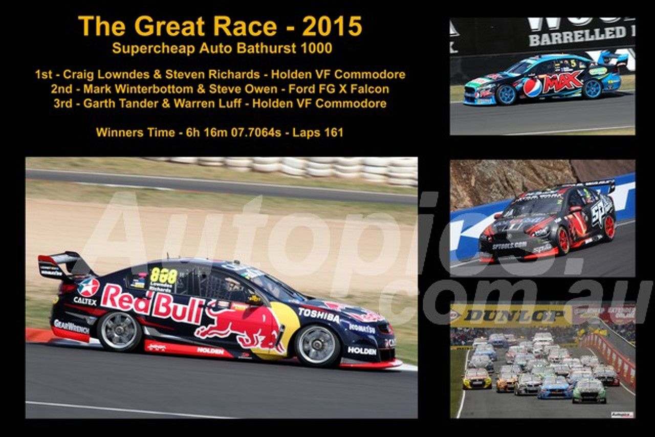 646 - The Graet Race 2015 - A collage of 4 photos showing the first three place getters from  Bathurst 2015 with winners time and laps completed.
