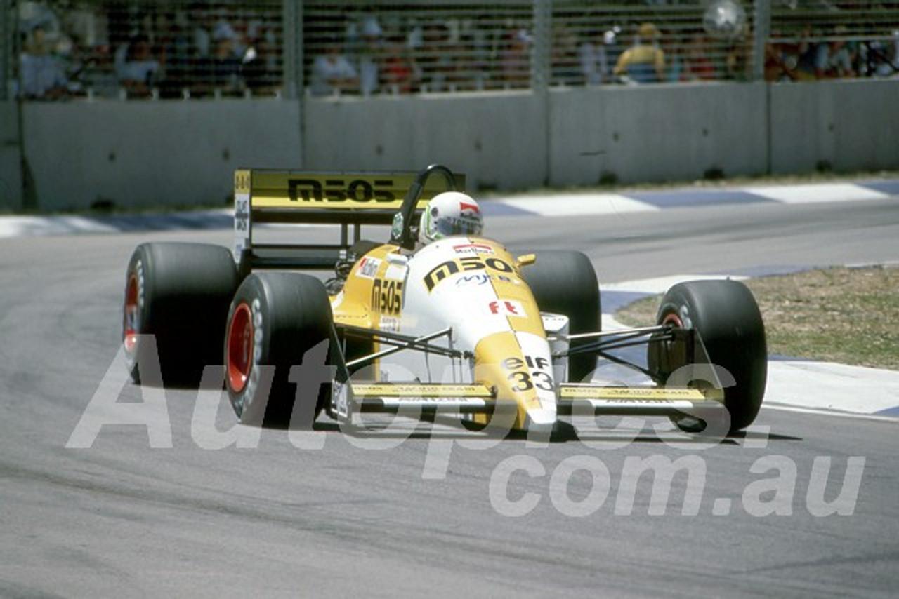 88149 - Stefano Modena, EuroBurn-Ford,  AGP Adelaide, 5th November 1988 - Photographer Darren House