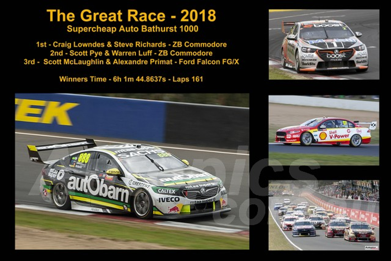 649 - The Great Race 2018 - A collage of 4 photos showing the first three place getters from  Bathurst 2018 with winners time and laps completed.