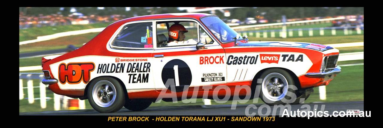 326 - Peter Brock, Holden Torana, LJ, XU1, Sandown 1973 - A Panoramic Photo 30x10inches.