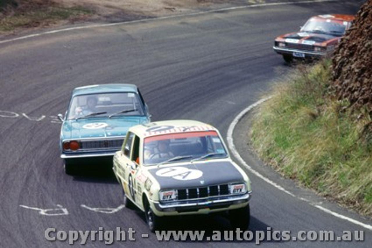 70765  -  J. Laing-Peach / B. Ferguson  Mazda 1300 &  G. Westbury / R. Marquet Ford Cortina 1600 -   Bathurst  1970 - Photographer Jeff Nield