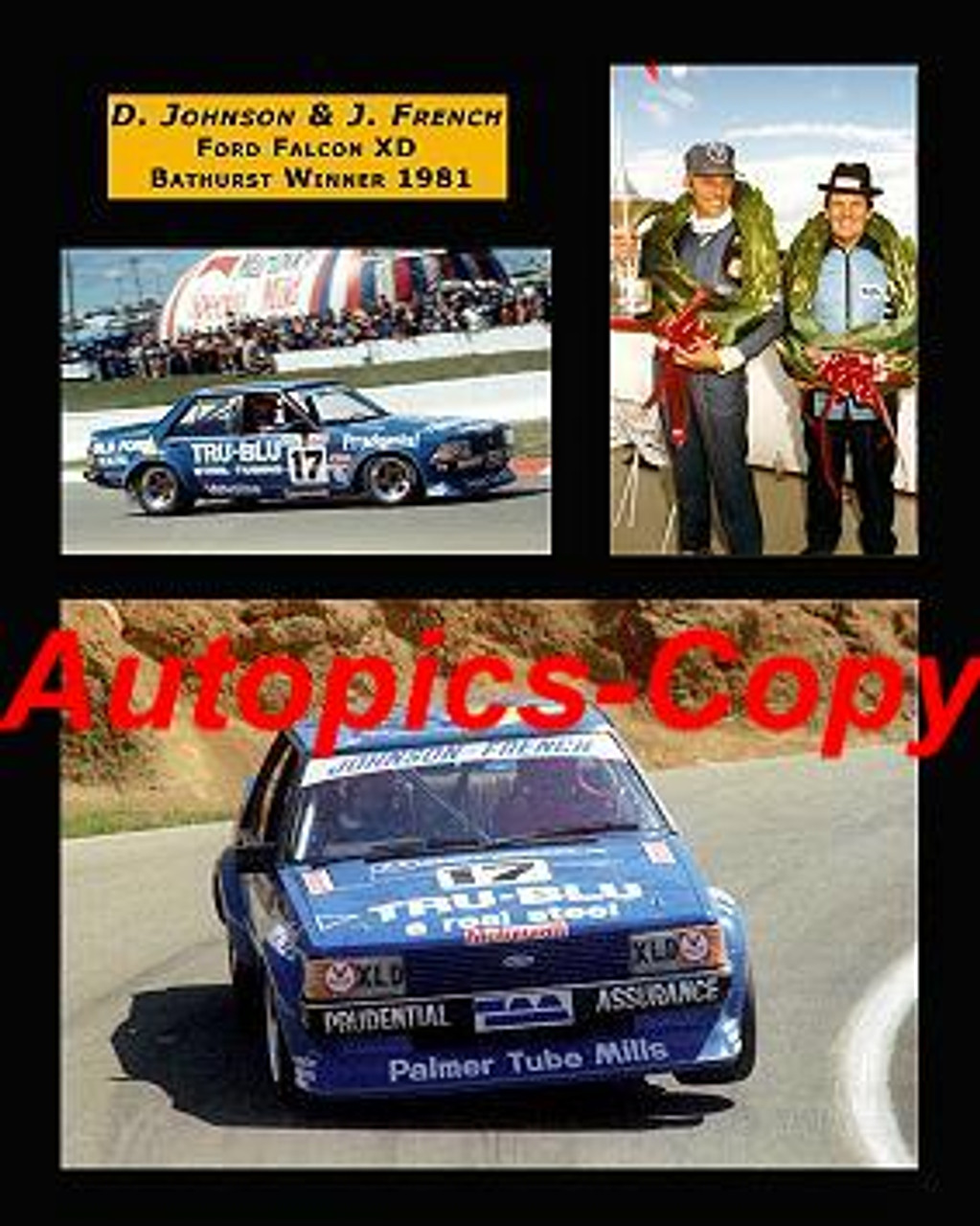 472 - Johnson / French -  Ford Falcon XD 1981  Bathurst Winners -  A collection of three photos. 16x20 inches  400x500mm