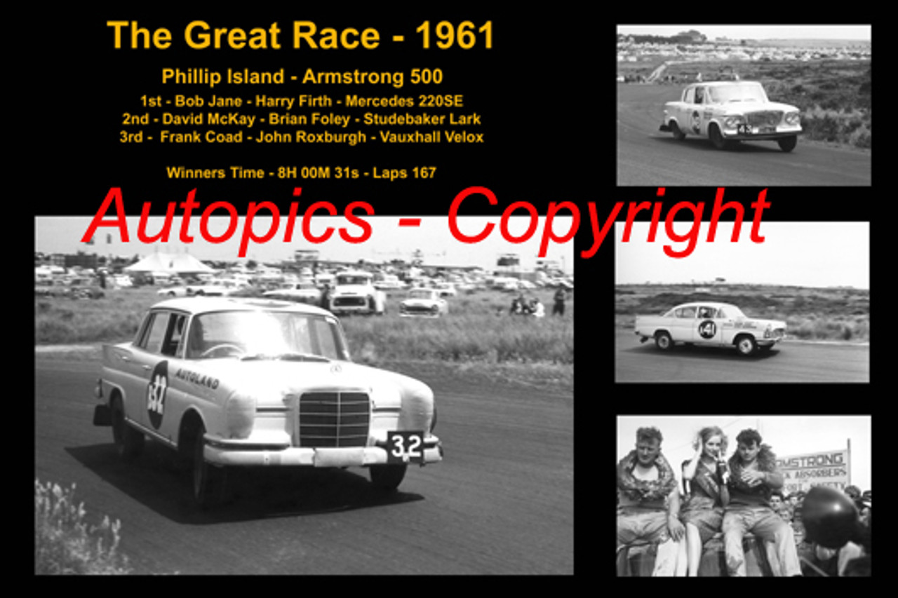 592 - The Great Race 1961 - A collage of the first three place getters from  Phillip Island 1961 with winners time and laps completed. Firth / Jane Mercedes 220SE McKay / Foley / Studebaker Lark Coad / Roxburgh Vauxhall Velox