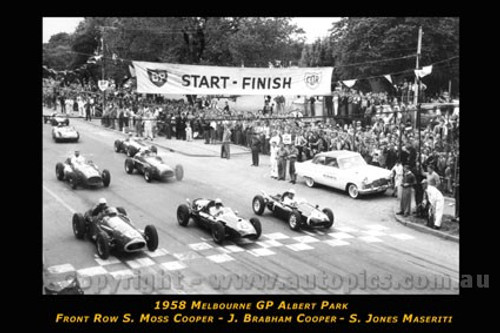 Start of the 1958 Melbourne GP Albert Park - Front Row Moss - Cooper / Brabham - Cooper / Jones - Maserati - Printed with a black border and a caption describing the photo.